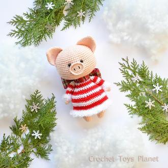 Рожева новорічна свинка в'язана іграшка Рожеве поросятко М'яка іграшка / Вязаная розовая свинка