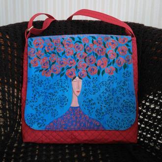 Дизайнерская сумка с росписью по ткани
