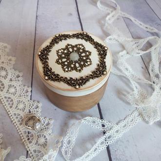 Круглая шкатулка для обручальных колец Подушка для подношения колец Шкатулка для свадебных колец