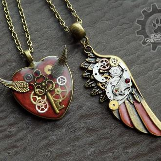 Красный набор - парные кулоны крыло и сердце в стиле steampunk. Цена за два! (под заказ на сентябрь)