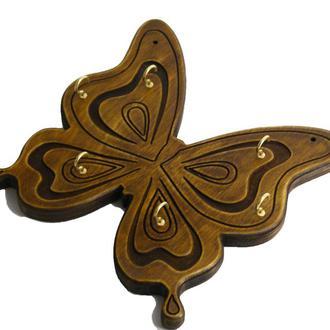 Настенная ключница в форме бабочки на 6  связок крючков