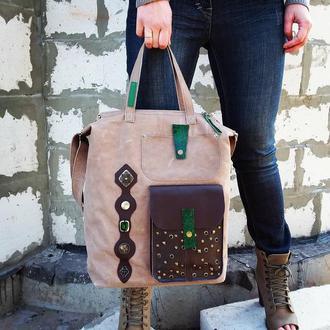 Натуральная кожа. Большая сумка с декором из кожи ящерицы