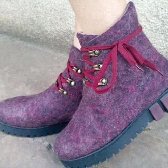 "Эко ботиночки из шерсти ""Баклажанчики"""