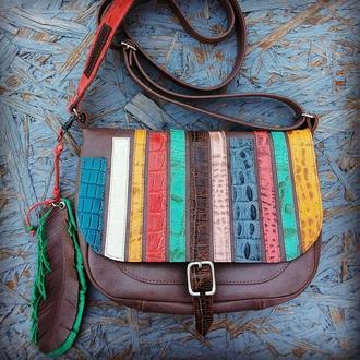 Натуральная кожа. яркая сумка кроссбоди в бохо стиле с пером