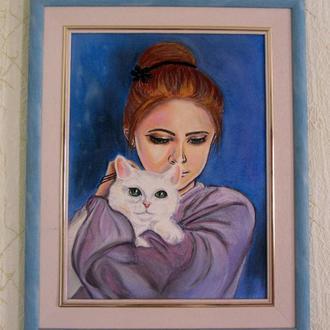 """Картина пастелью """"Девушка с котом"""""""