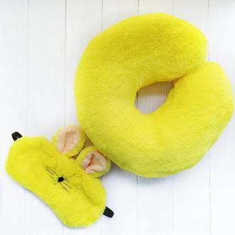 """Автоподушка і маска для сну """"Yellow banny"""""""