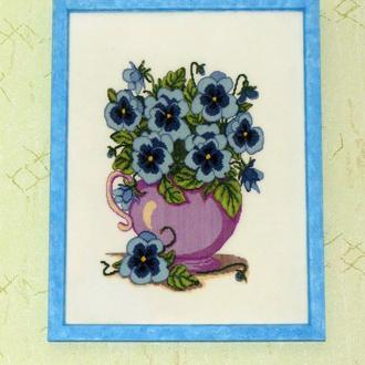"""Картина крестиком """"Голубые виолы"""""""