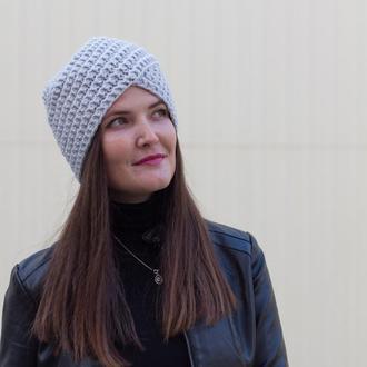 Обалденная шапка-чалма вязаный тюрбан серого цвета