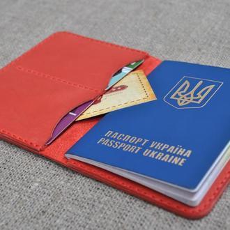Стильная винтажная обложка для паспорта красного цвета P05-580