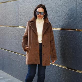 Женское зимнее пальто утепленное, пальто с длинным ворсом, женское пальто из шерсти и мохера
