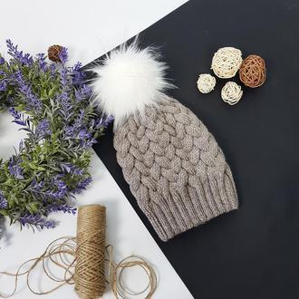 Bregoli design вязаная подрастковая теплая шапка без отворота с белым бубоном 52-55см
