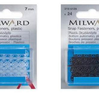 Пришивные кнопки Milward, пластик, прозрачные, 13 мм, 15 шт