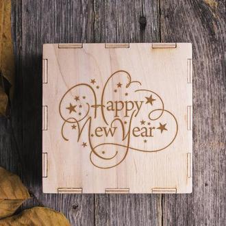 """Коробочка деревянная подарочная новогодняя """" Happy New Year"""""""