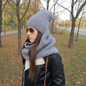 Bregoli design вязаный набор шапка бини снуд серый