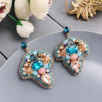 Сережки з кристалами