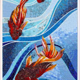 """Мозаика - картина """"Рыбы на волнах"""""""