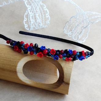 Красно синий цветочный обруч, обруч с цветами, аксессуар для волос, подарок девушке