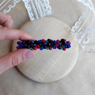 Красно синяя заколка с цветами, цветочное украшение для волос, подарок девушке, заколка 8 см