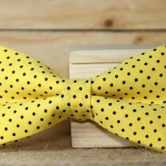 Галстук-бабочка I&M Craft жёлтый в горошек (010504)