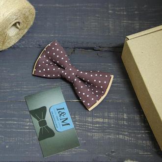 Галстук-бабочка I&M Craft коричневый в горошек (010508)