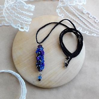 Фиолетово синий кулон с цветами, кулон с цветами, цветочное украшение, подарок девушке