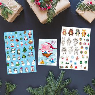 Новогодний набор. Два листа наклеек и один календарик на 2019 год.