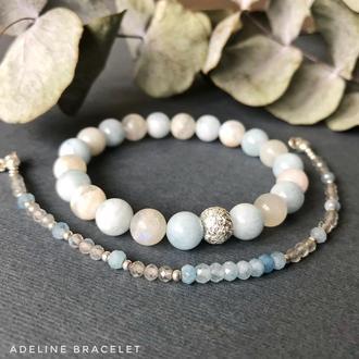Набор браслетов из аквамарина и лунного камня с фурнитурой из серебра 925 пробы