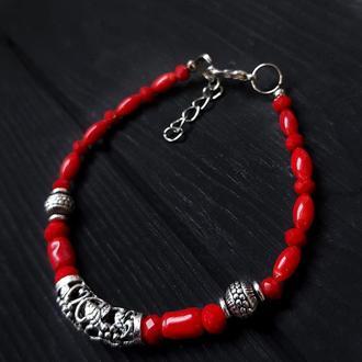 Браслет з натуральними коралами браслет из коралла красный браслет