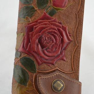 """Кожаный женский кошелек """"Осенние розы"""""""