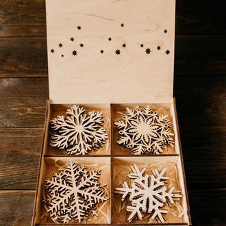 """Набор новогодних игрушек """"Снежинка"""" + коробка"""