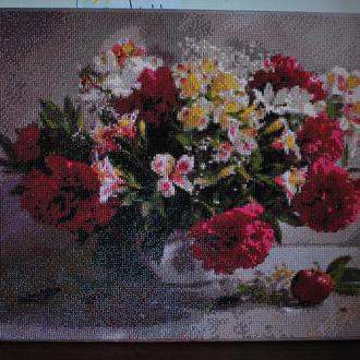Картина ваза с цветами алмазная вышивка готовая