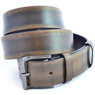 Итальянский кожаный коричневый ремень с уникальным рисунком в стиле унисекс под джинсы. Подарок.