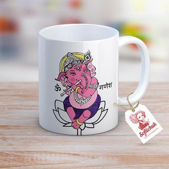 """Дизайнерская чашка в символе Индии """"Ганеш"""" в розово-фиолетовых тоннах."""
