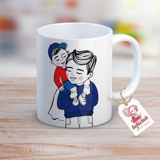 """Дизайнерская чашка с авторской иллюстрацией """"Дорогий тато"""""""