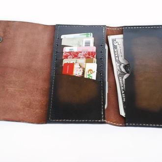 Кожаный кошелек градиент коричневый рас4 (12 цветов)