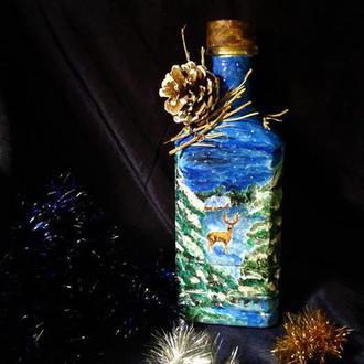 """бутылочка -сувенир """" Зима в лесу"""""""