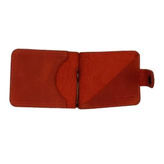 Зажим для Денег Натуральная Кожа Красный clip