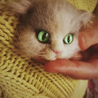 Брошь кот, Брошка кот, Котоброшь валяная из шерсти