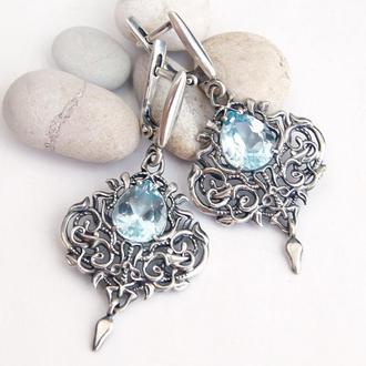 Ажурные серебряные серьги Фриволите с натуральными скай топазами