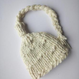 Шапка вязаная зимняя крупная вязка