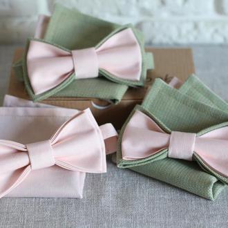 "Комплект бабочка и платок-паше ""Розовые облака и зеленый мох"""