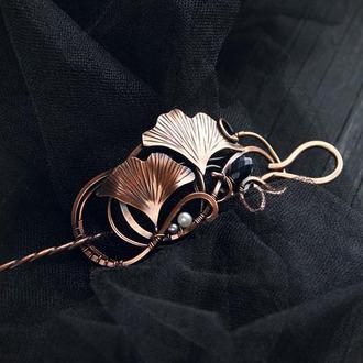 Мідна заколка брошка Гінкго подарунок для неї модний аксесуар заколка для волосся весільна прикраса