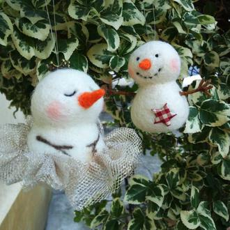 Снеговик игрушки на елку  2шт валяная игрушка из шерсти снеговик