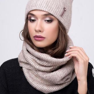 Комплект шапка и шарф снуд АЛЛЮР с напылением