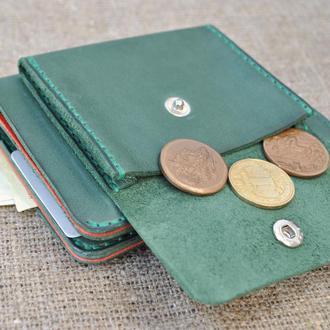Вертикальный кошелек с наружной монетницей из кожи K90-350+580