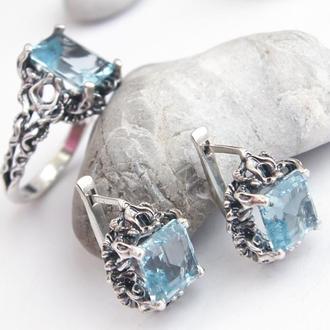 Комплект кольцо и серьги с натуральными топазами, серебро 925 пробы