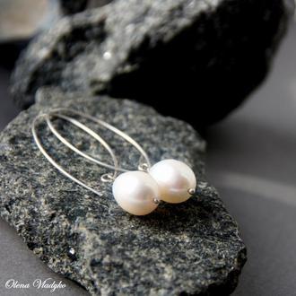 """Серебряные серьги с жемчугом """"Leyla"""", длинные серебряные серьги, подарок девушке, женщине"""
