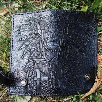 Мужской Черный тревел кошелек, кошелёк с индейцем, портмоне с тиснением