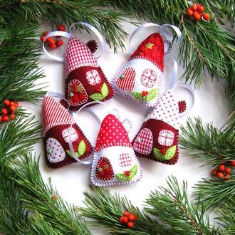 Новорічний декор, набір ялинкових іграшок із фетру.