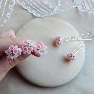 Нежно розовые шпильки, шпильки для волос, шпильки с цветами, подарок девушке